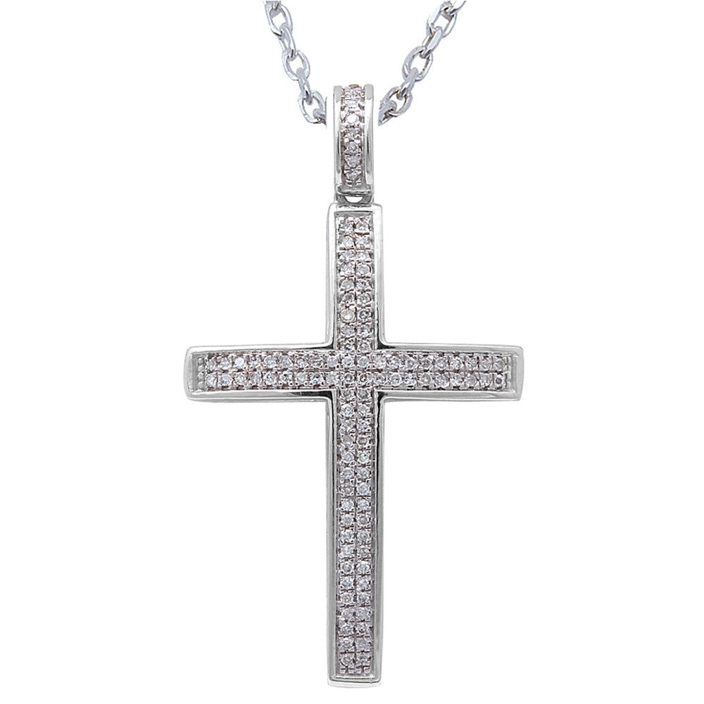 ".15CT F SI Round Diamond Pave Set Cross Pendant 14kt White gold 18"" Long Chain"