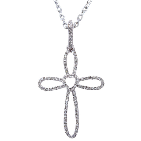 ".16CT F SI Round Diamond Pave Set Cross Pendant 14kt White gold 18"" Long Chain"