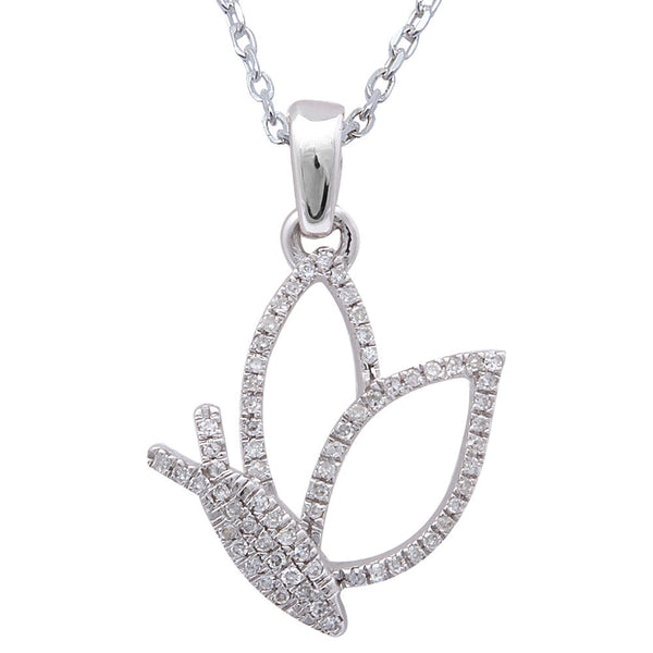 ".10ct F SI Diamond Butterfly Pendant 14kt White Gold 18"" Long"