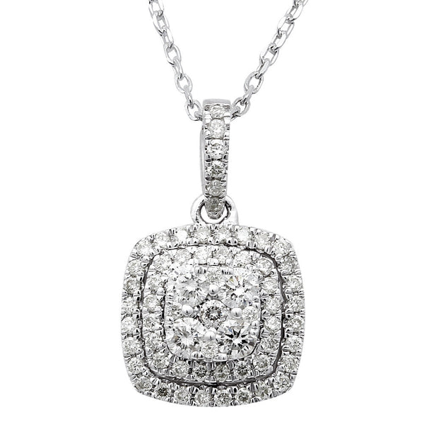 "<span style=""color:purple"">SPECIAL!</span>.85ct Square Diamond Solitaire Drop Dangle Necklace Pendant 14kt White Gold 18"""