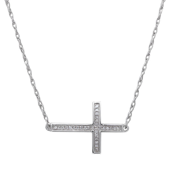 ".04ct Round Diamond Sideways Cross Pendant 14kt White gold 18"" Long Chain"