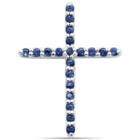 0.12cts 14k White gold Genuine Blue Sapphire Cross Pendant