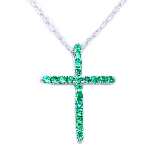.13ct Emerald & Diamond Cross Pendant