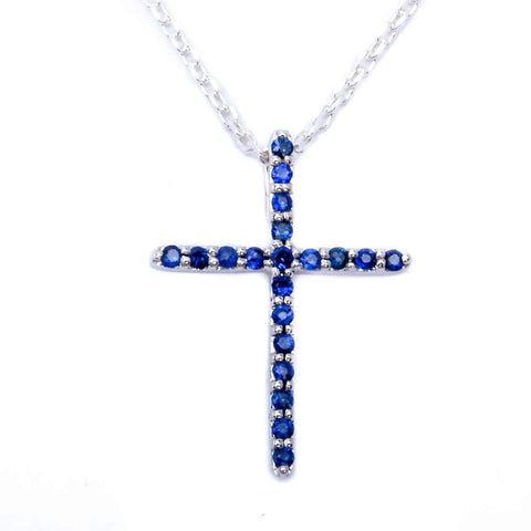 .13ct 14kt White gold Natural Blue Sapphire Cross Pendant