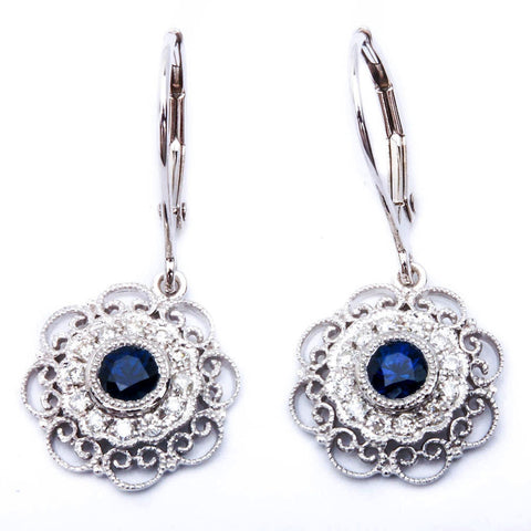 <span>GEMSTONE CLOSEOUT! </span>  14kt White Gold Antique Style Blue Sapphire & Diamond Dangle Drop Earrings