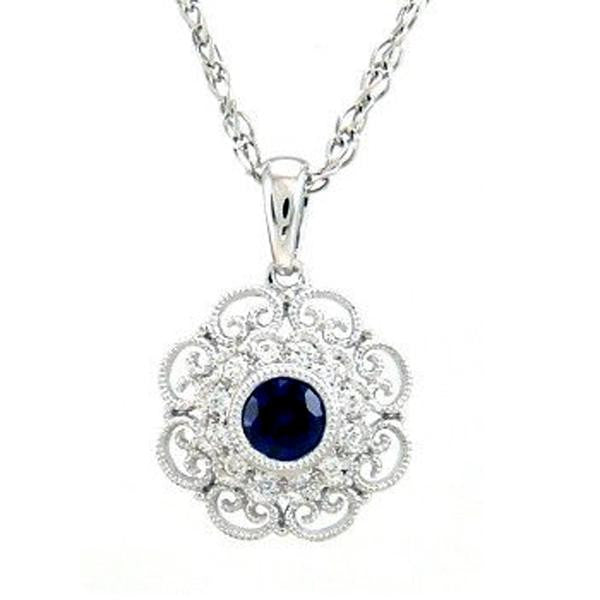 .40ct Blue Sapphire & Diamond Antique Filigree Pendant