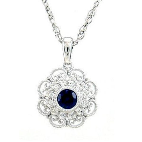 <span>GEMSTONE CLOSEOUT! </span> .40ct Blue Sapphire & Diamond Antique Filigree Pendant