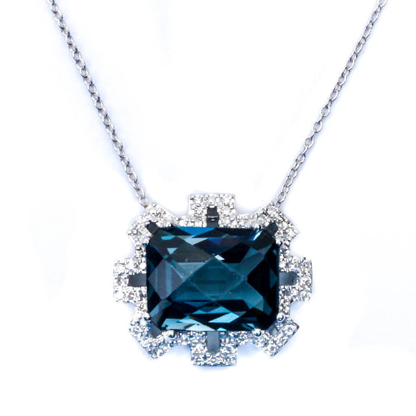 "E VS Quality 4.21CT Diamond & Blue topaz Fine Gemstone Pendant Necklace 16"" Long"