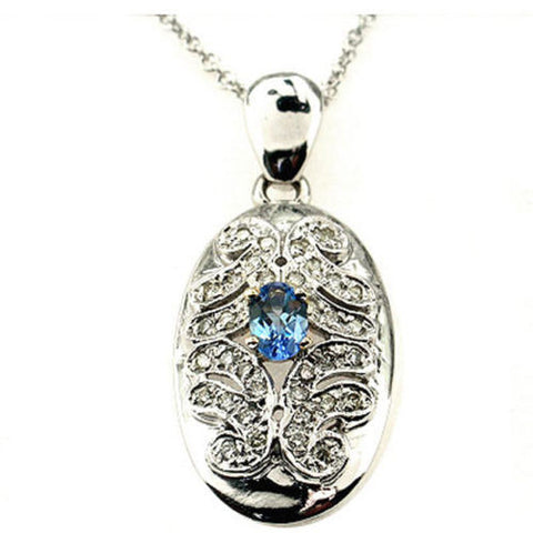 1.00ct F VS Tanzanite & Round Diamond Pendant Necklace