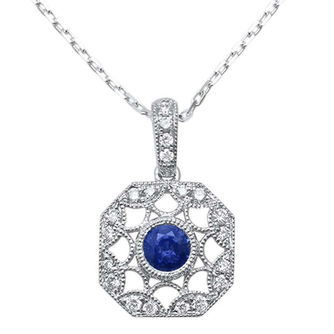 <span>GEMSTONE CLOSEOUT! </span>0.52ct F SI1 14k White Gold Blue Sapphire & Diamond Antique Style Pendant