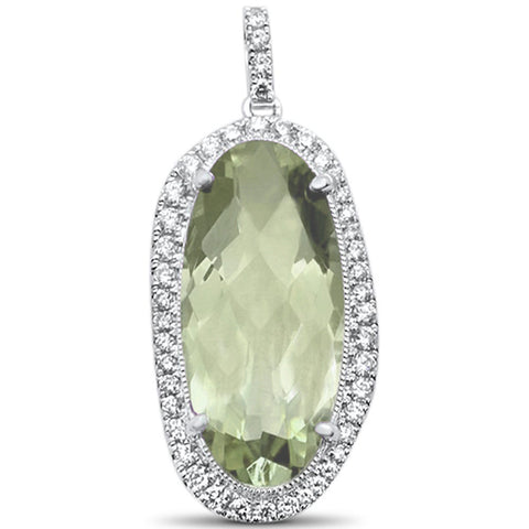 <span>GEMSTONE CLOSEOUT! </span>8.46ct F SI1 14k White Gold Green Amethyst & Diamond Drop Pendant