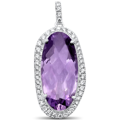 <span>GEMSTONE CLOSEOUT! </span>6.14cts 14k White gold Oval Amethyst Designer Diamond Pendant