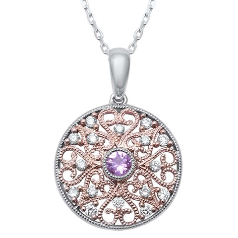 <span>GEMSTONE CLOSEOUT! </span>.31ct F SI1 14k Two Tone Gold Pink Sapphire & Diamond Pendant