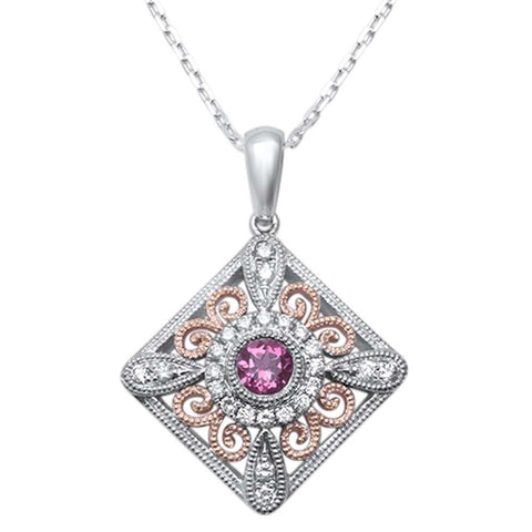 <span>GEMSTONE CLOSEOUT! </span>  .43ct F SI1 14k Two Tone Gold Pink Sapphire & Diamond Pendant