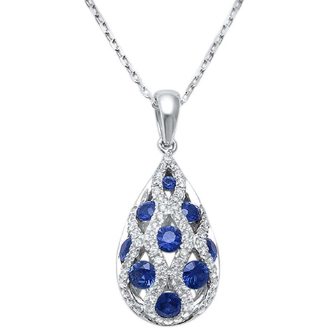 <span>GEMSTONE CLOSEOUT! </span>1.05ct F SI1 14k White Gold Blue Sapphire & Diamond Tear Drop Pendant