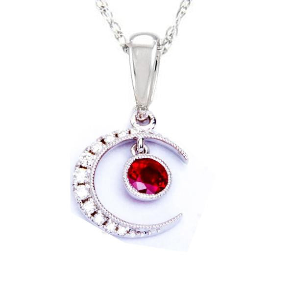 .55ct Red Ruby & Diamond Pave Set Half Moon Pendant