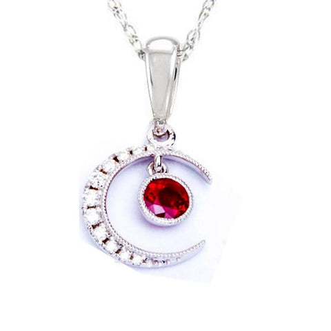 <span>GEMSTONE CLOSEOUT! </span>.55ct Red Ruby & Diamond Pave Set Half Moon Pendant