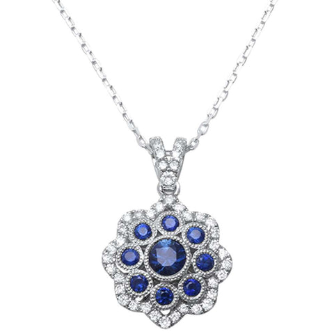 <span>GEMSTONE CLOSEOUT! </span>.99cts 14k White Gold Blue Sapphire & Diamond Antique Reproduction Pendant