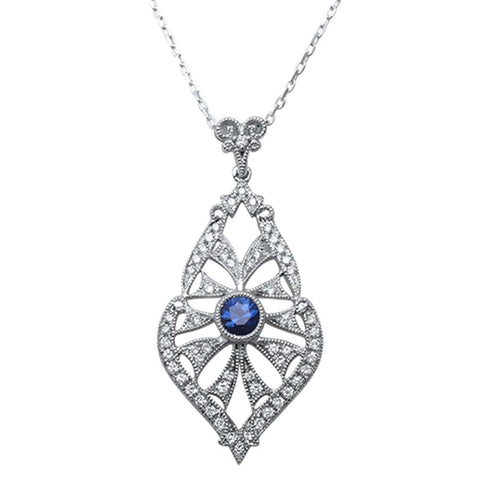 <span>GEMSTONE CLOSEOUT! </span>.31cts 14kt Gold Antique Reproduction Designer Blue Sapphire & Diamond Pendant