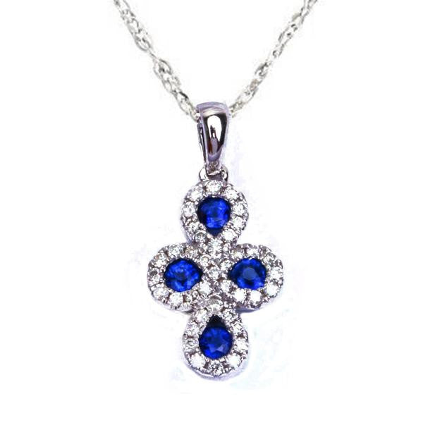 "14kt White gold .65ct Pave Set  Blue Sapphire Cross Pendant with 18"" Necklace"