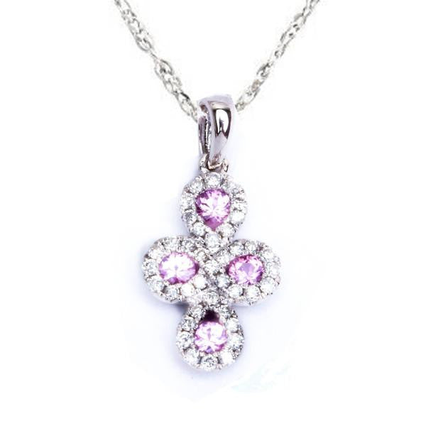 "14kt White gold .65ct Pave Set Pink Sapphire Cross Pendant with 18"" Necklace"