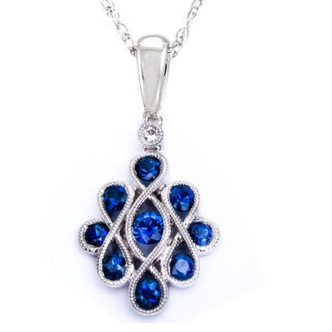 "<span>GEMSTONE CLOSEOUT! </span>.97ct Modern Unique Sapphire Pendant Necklace 18"" Chain Solid 14kt White gold"
