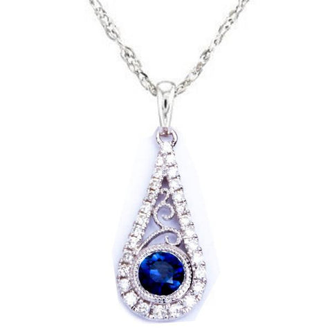 <span>GEMSTONE CLOSEOUT! </span>.43ct Antique Filigree Blue Sapphire & Diamond 14kt White gold Pendant
