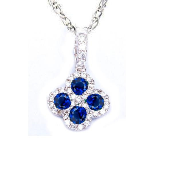 .47ct Blue Sapphire & Natural Diamond Infinity Flower Pendant Necklace 18""