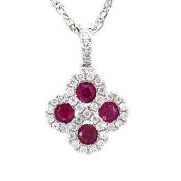 .53ct Genuine Red Ruby & Natural Diamond Infinity Flower Pendant Necklace 18""