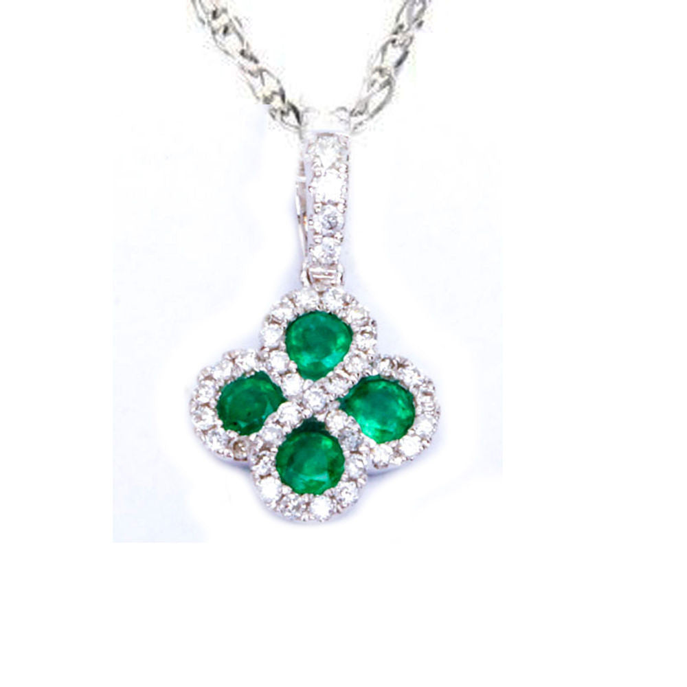 .47ct Green Emerald & Natural Diamond Infinity Flower Pendant Necklace 18""