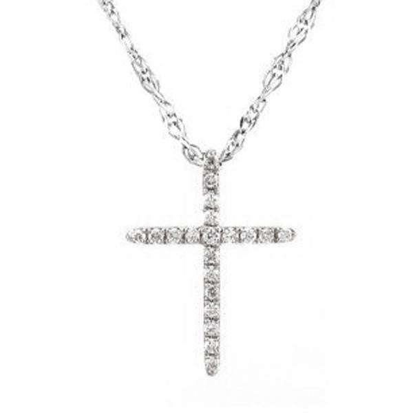 "14KT White gold Micro Pave Set Diamond Cross Pendant with 18"" Chain"