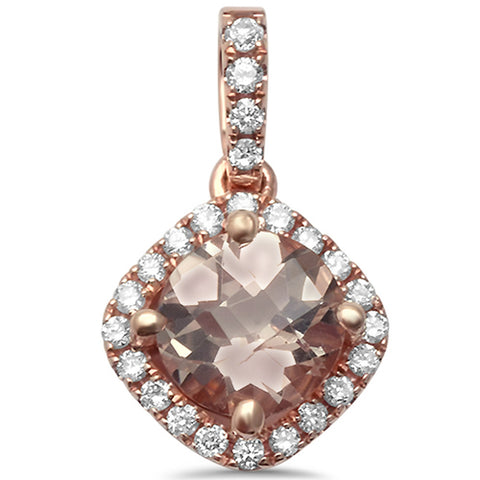 0.89cts Round  Morganite Gemstone & Diamond 14k Rose Gold Pendant