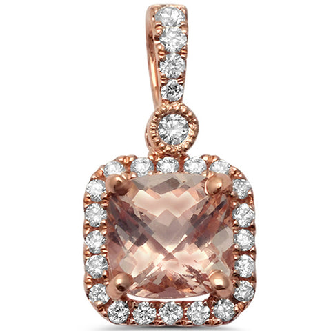 1.16cts Cushion Cut Morganite Gemstone & Diamond 14k Rose Gold Pendant