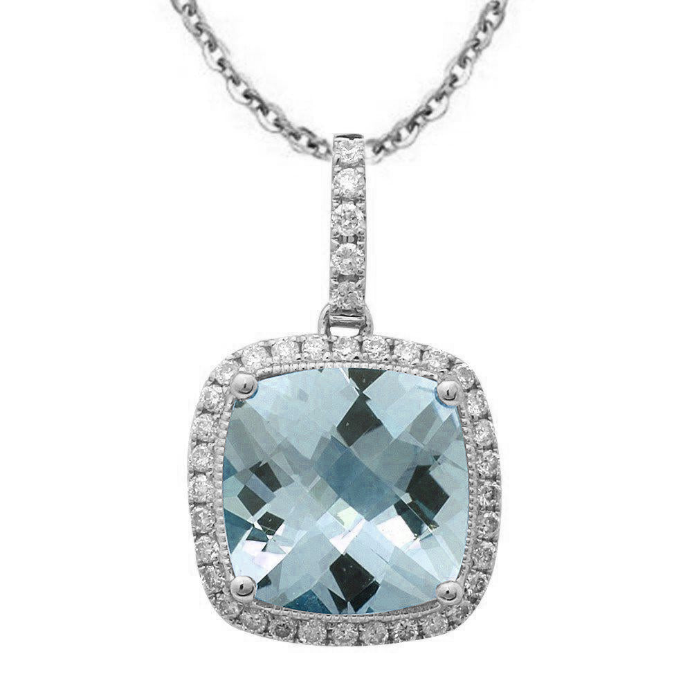 "2.60ct 14k White Gold Aquamarine & Diamond Pendant Necklace 18"" Long"