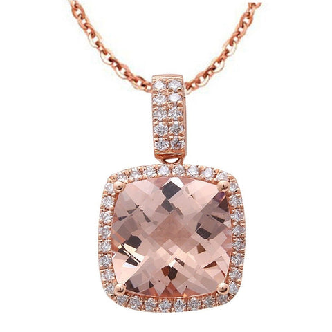 2.58cts Cushion Cut Morganite Gemstone & Diamond 14k Rose Gold Pendant