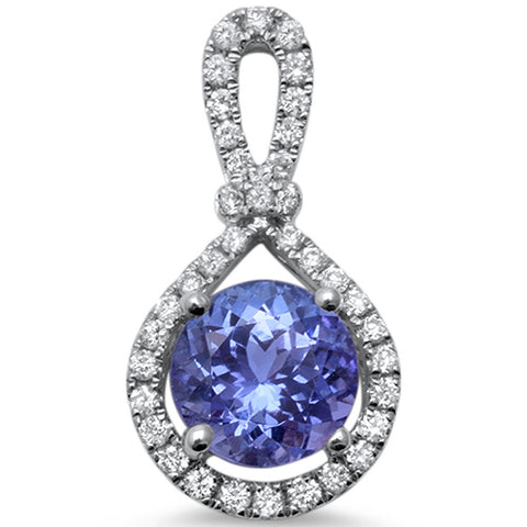 1.68cts Round Tanzanite Gemstone & Diamond 14k White Gold Pendant