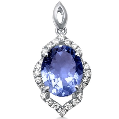 1.59cts Oval Tanzanite Gemstone & Diamond 14k White Gold Pendant
