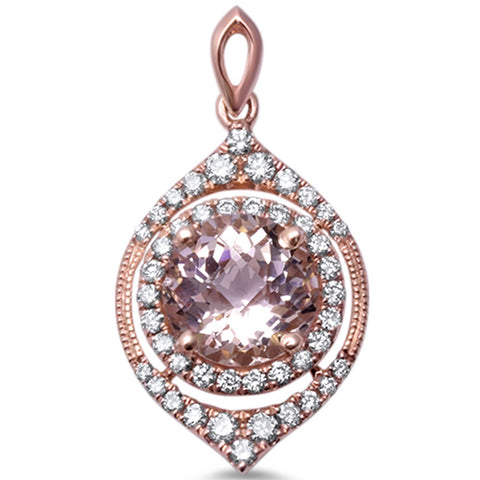 1.33cts Round  Morganite Gemstone & Diamond 14k Rose Gold Pendant