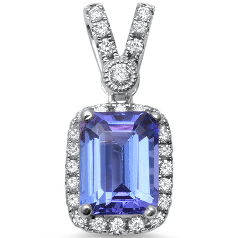1.55cts Emerald Cushion Cut Tanzanite Gemstone & Diamond 14k White Gold Pendant