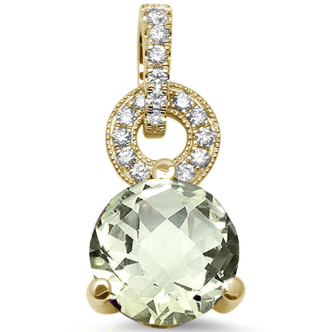 1.76ct 14K Yellow Gold Natural Green Amethyst & Diamond Pendant