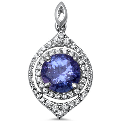 1.53cts Round Tanzanite Gemstone & Diamond 14k White Gold Pendant
