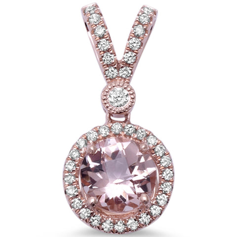 1.06cts Round  Morganite Gemstone & Diamond 14k Rose Gold Pendant