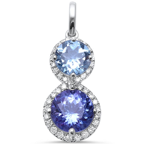 1.73cts 7mm Tanzanite Gemstone & Diamond 14k White Gold Pendant