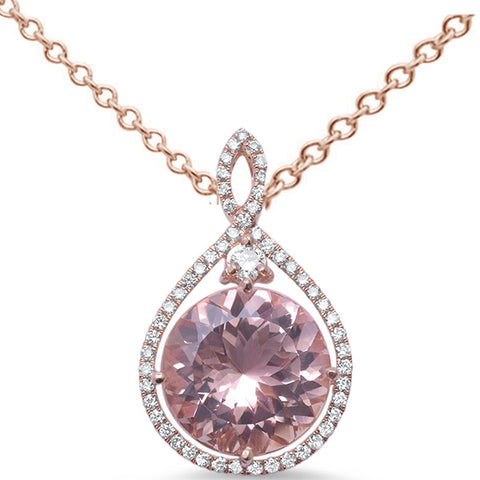 "6.03ct Round Morganite 14k Rose Gold Diamond Pendant Necklace 18"" Long"