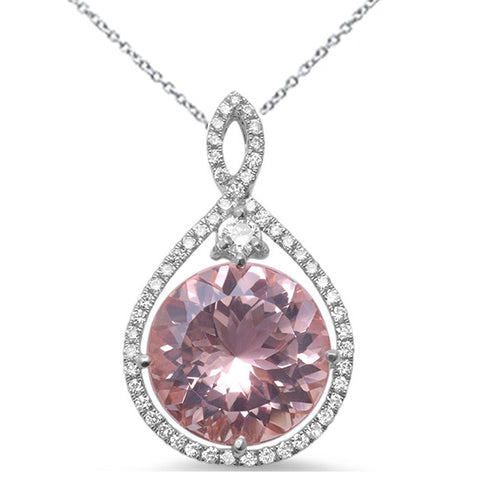 "6.03ct Round Morganite 14k White Gold Diamond Pendant Necklace 18"" Long"