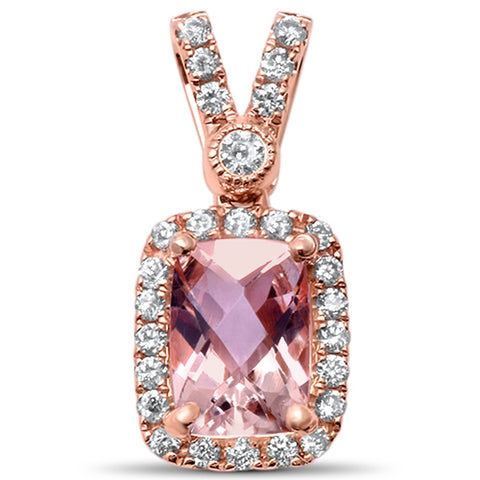 1.02cts Cushion Cut  Morganite Gemstone & Diamond 14k Rose Gold Pendant