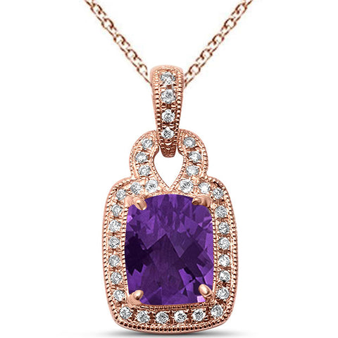 "1.61ct Cushion Cut Amethyst 14k Rose Gold Diamond Pendant Necklace 18"" Long"