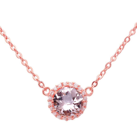 .83ct 14k Rose Gold Morganite & Diamond Solitaire Necklace Pendant 18""