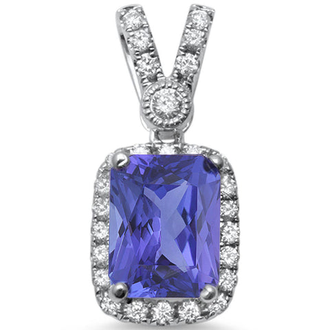 1.91cts Cushion Cut Tanzanite Gemstone & Diamond 14k White Gold Pendant