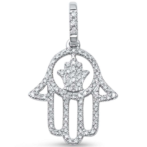 ".20 G SI 14kt White Gold Hand of Hamsah Chai Jewelry Diamond Pendant 1"" Long"